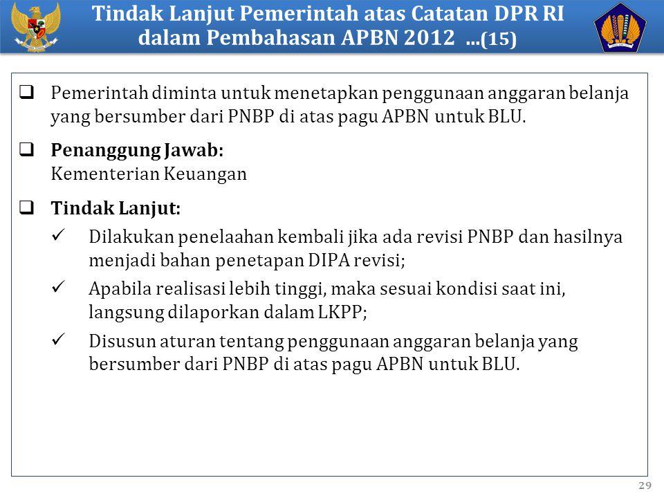 Tindak Lanjut Pemerintah atas Catatan DPR RI dalam Pembahasan APBN 2012 ...(15)