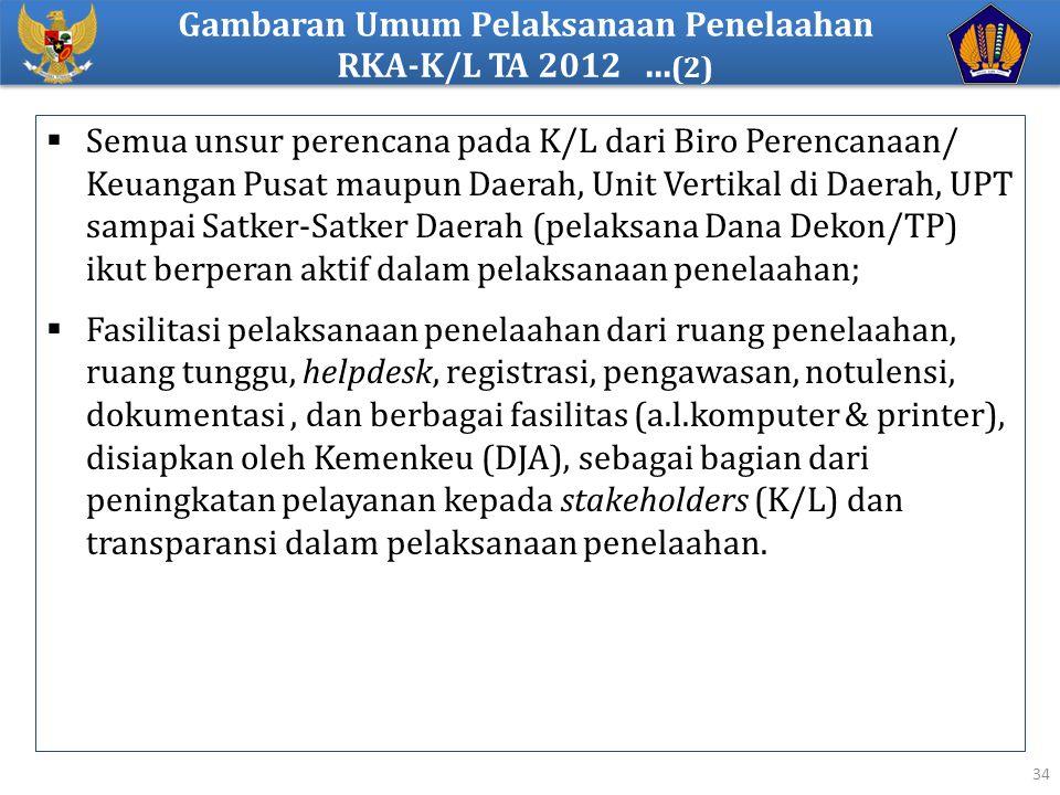 Gambaran Umum Pelaksanaan Penelaahan RKA-K/L TA 2012 ...(2)