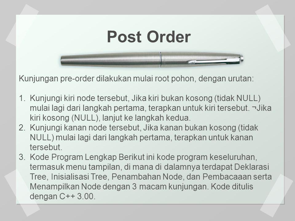 Post Order Kunjungan pre-order dilakukan mulai root pohon, dengan urutan: