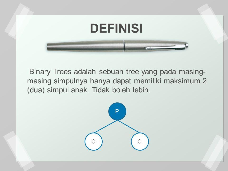 DEFINISI Binary Trees adalah sebuah tree yang pada masing-masing simpulnya hanya dapat memiliki maksimum 2 (dua) simpul anak. Tidak boleh lebih.