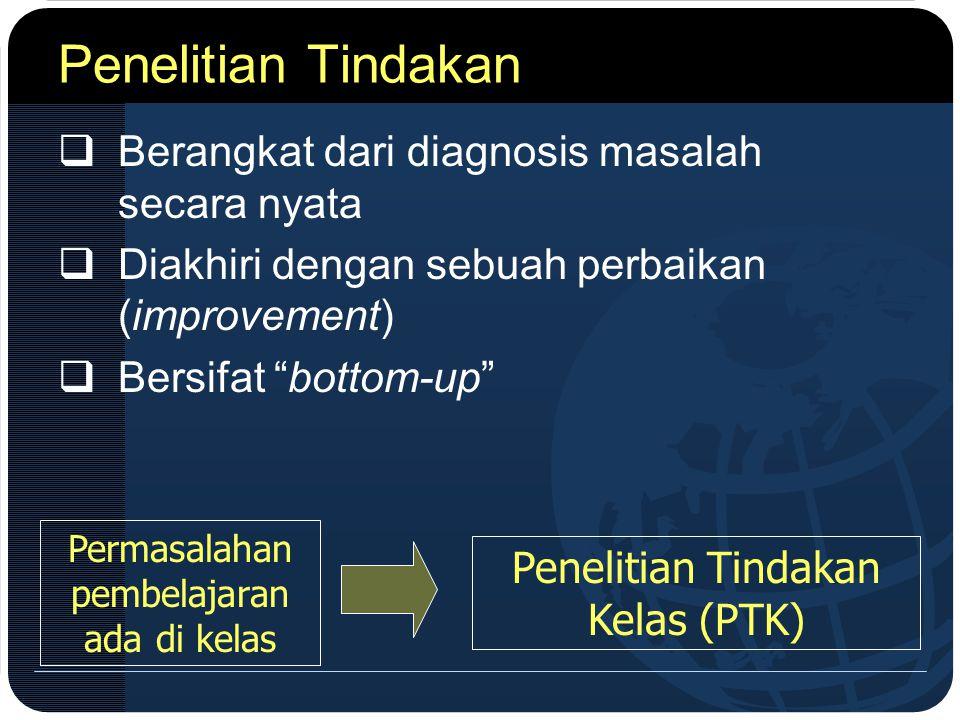 Penelitian Tindakan Berangkat dari diagnosis masalah secara nyata