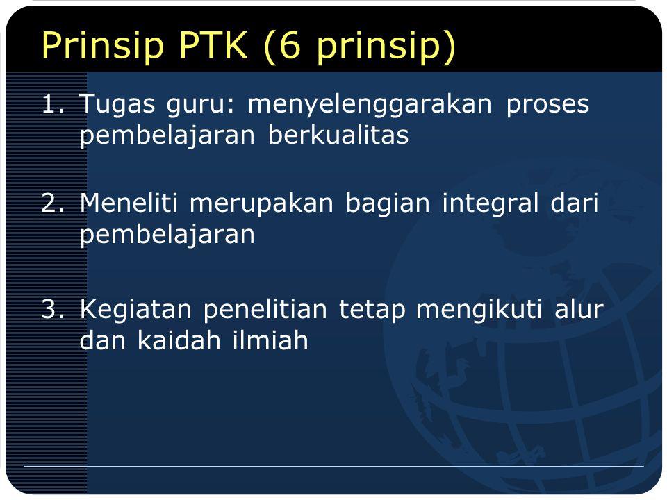 Prinsip PTK (6 prinsip) Tugas guru: menyelenggarakan proses pembelajaran berkualitas. Meneliti merupakan bagian integral dari pembelajaran.