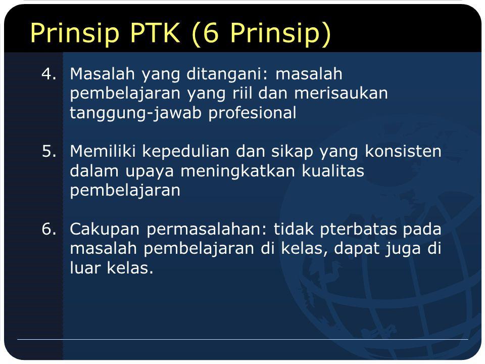 Prinsip PTK (6 Prinsip) Masalah yang ditangani: masalah pembelajaran yang riil dan merisaukan tanggung-jawab profesional.