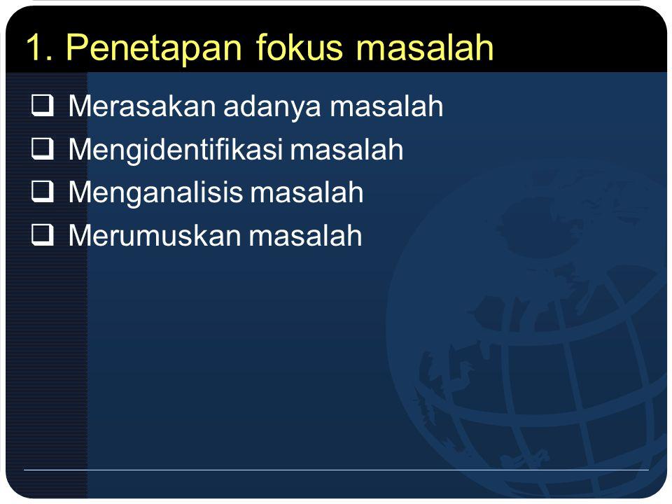 1. Penetapan fokus masalah