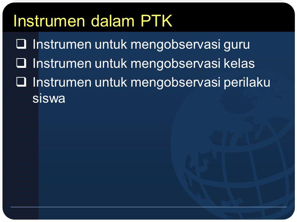 Instrumen dalam PTK Instrumen untuk mengobservasi guru