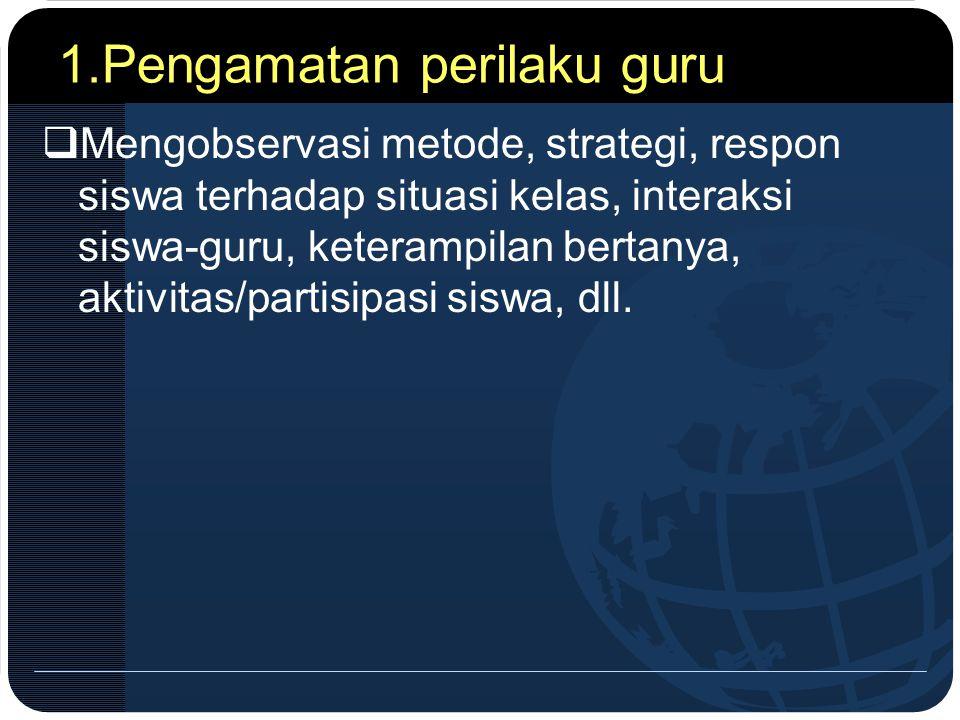 1.Pengamatan perilaku guru