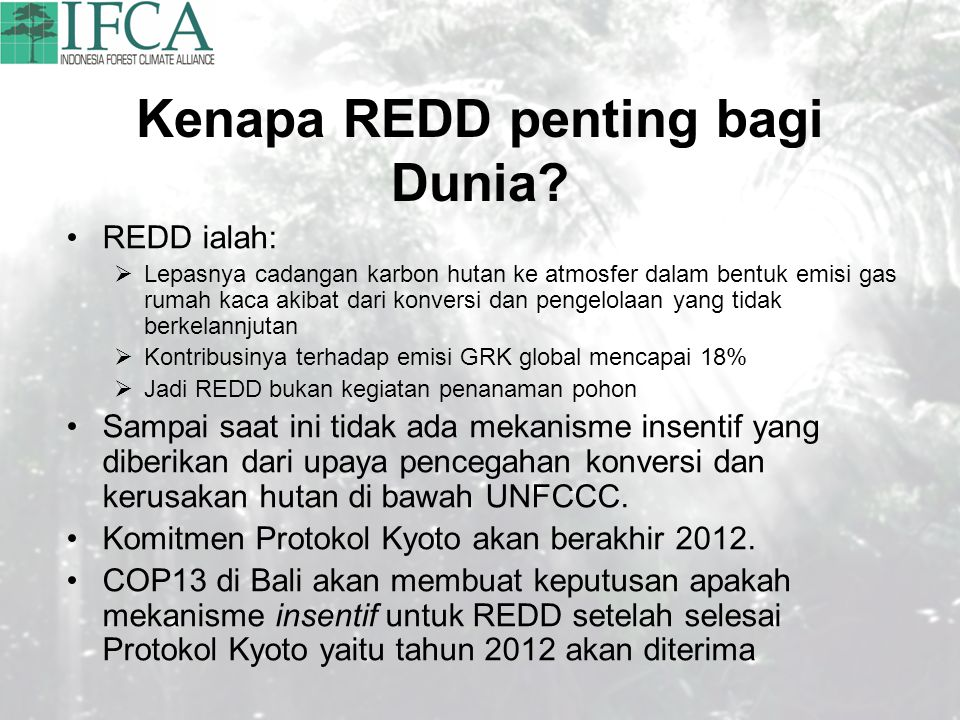 Kenapa REDD penting bagi Dunia