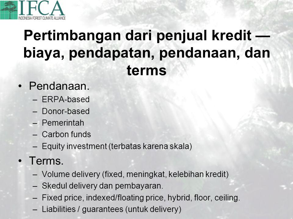 Pertimbangan dari penjual kredit — biaya, pendapatan, pendanaan, dan terms
