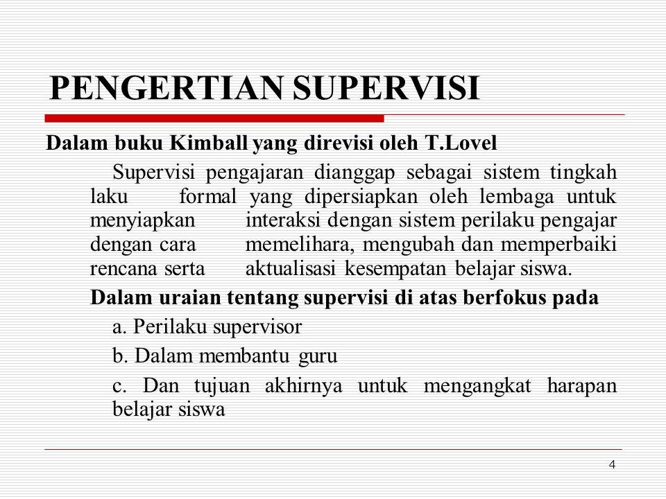 PENGERTIAN SUPERVISI Dalam buku Kimball yang direvisi oleh T.Lovel