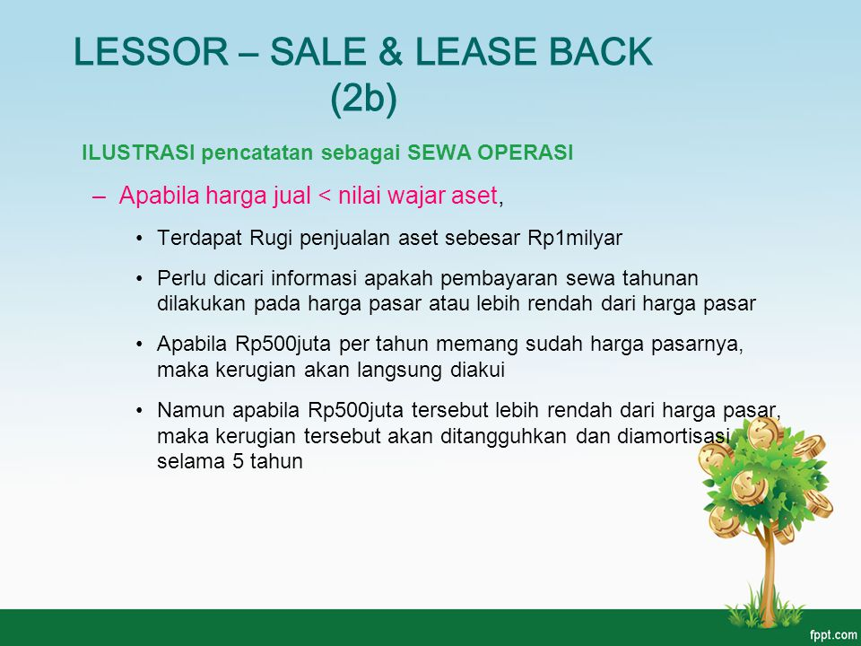 LESSOR – SALE & LEASE BACK (2b)