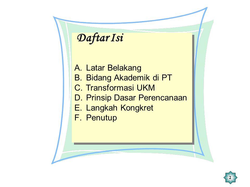 Daftar Isi Latar Belakang Bidang Akademik di PT Transformasi UKM
