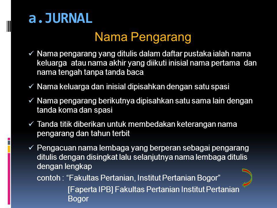 a.JURNAL Nama Pengarang