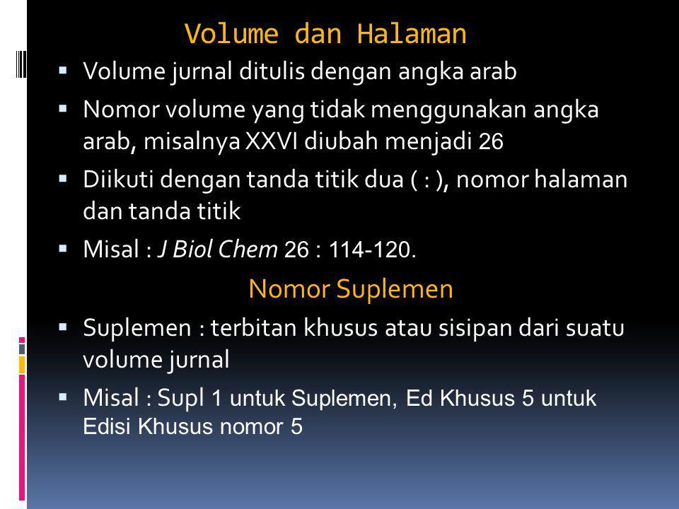 Volume dan Halaman Nomor Suplemen