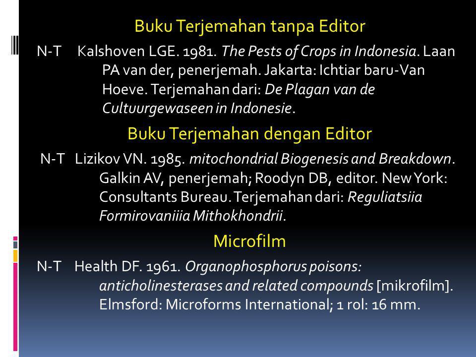 Buku Terjemahan tanpa Editor