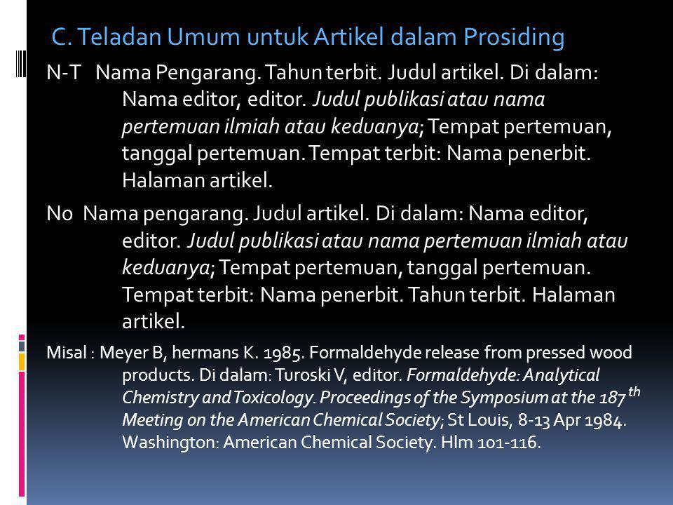 C. Teladan Umum untuk Artikel dalam Prosiding