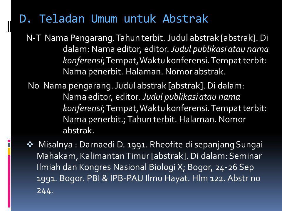 D. Teladan Umum untuk Abstrak
