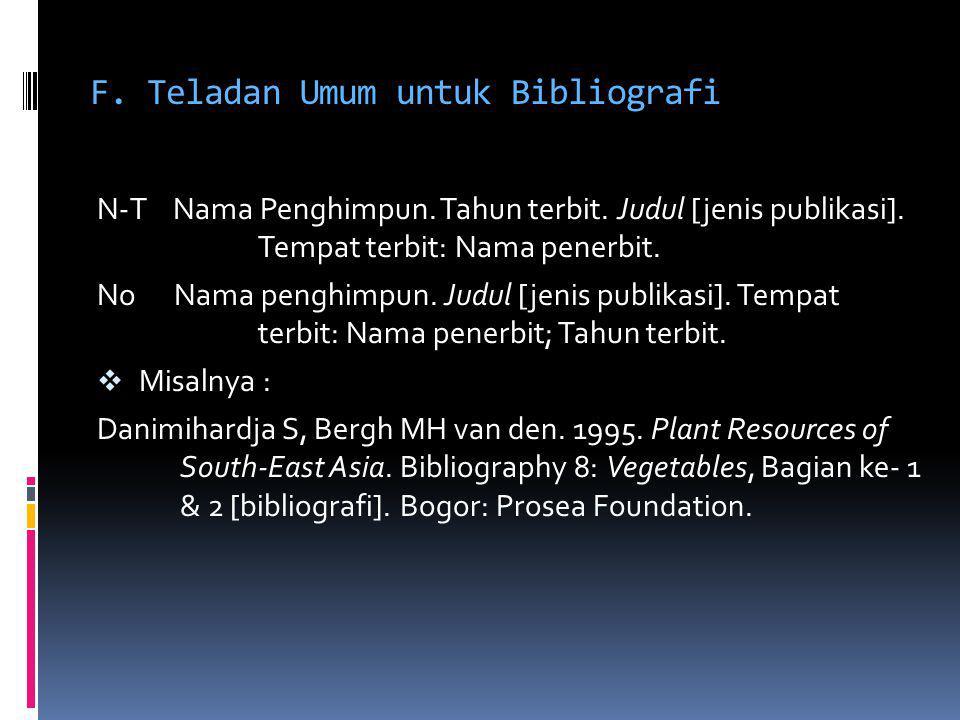 F. Teladan Umum untuk Bibliografi