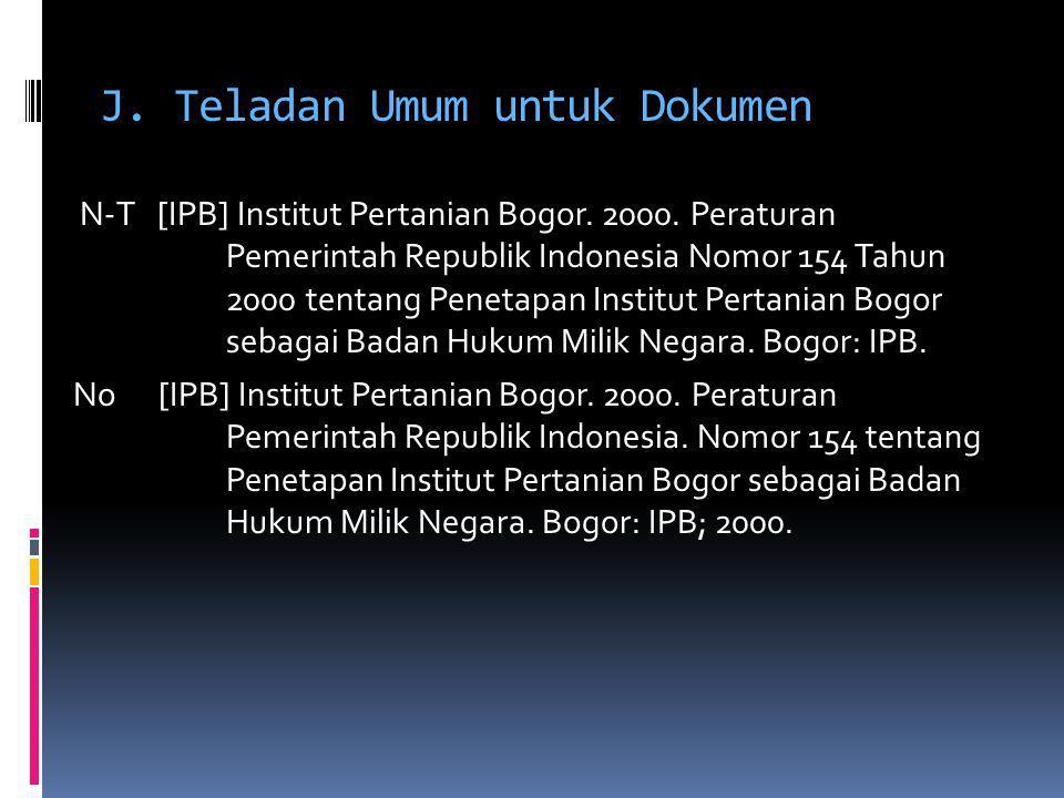 J. Teladan Umum untuk Dokumen