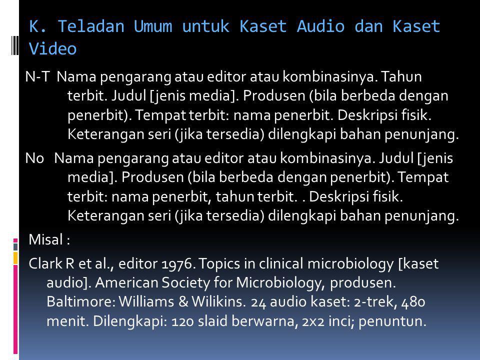 K. Teladan Umum untuk Kaset Audio dan Kaset Video