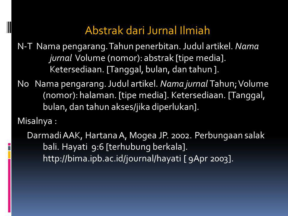 Abstrak dari Jurnal Ilmiah