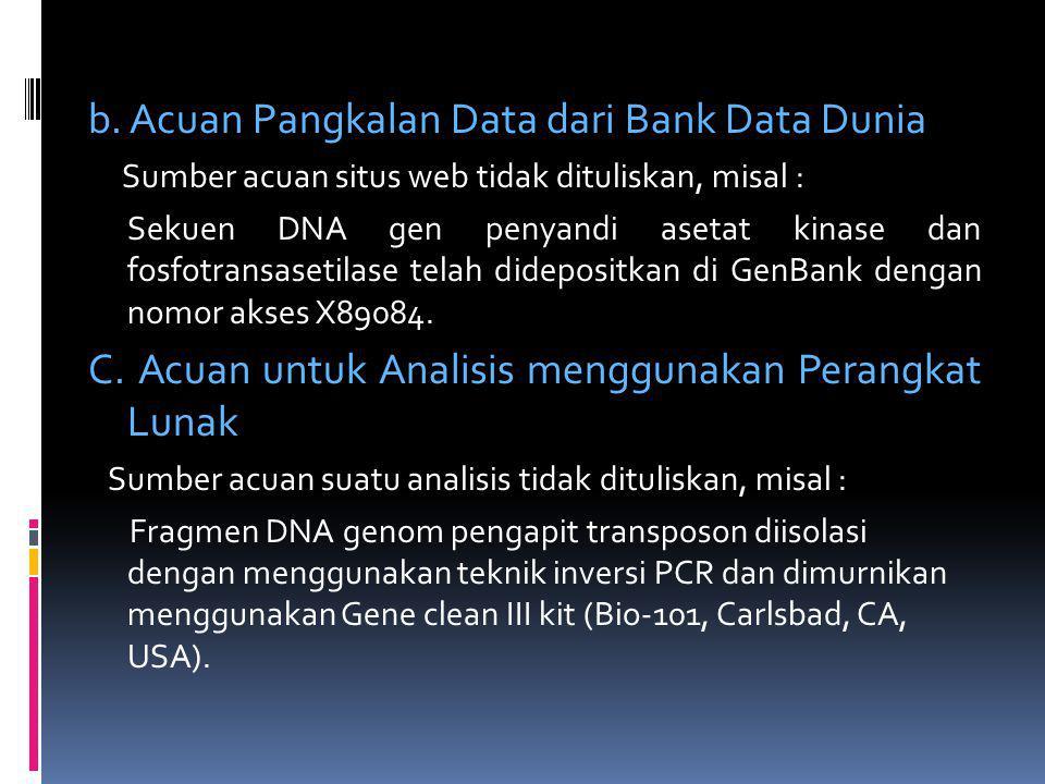 b. Acuan Pangkalan Data dari Bank Data Dunia