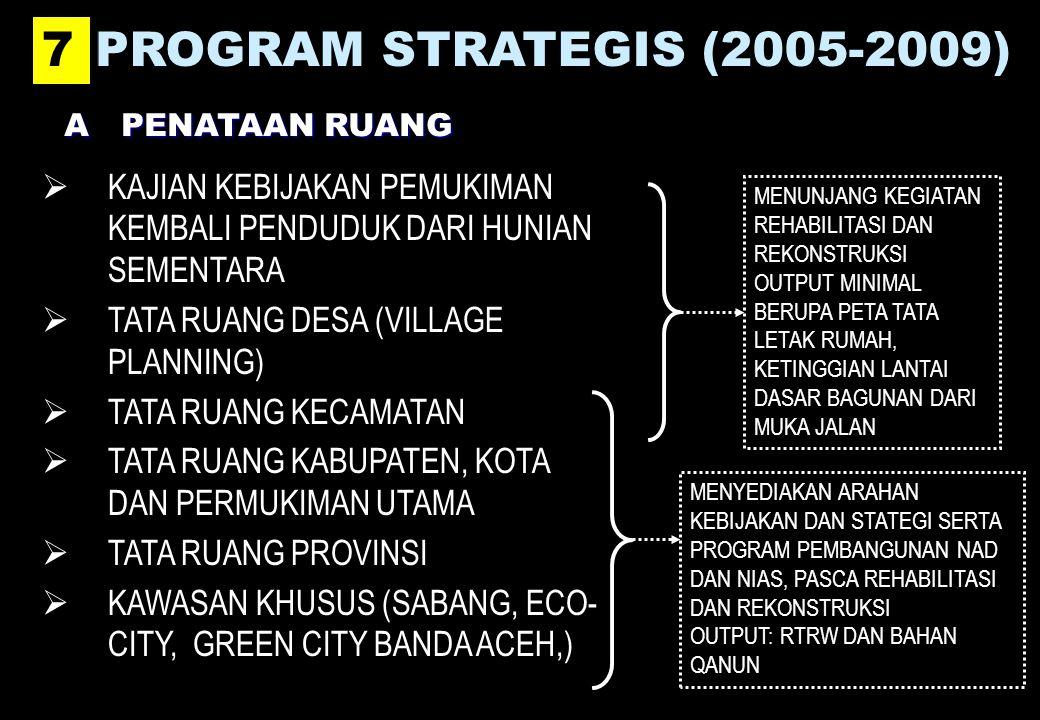 7 PROGRAM STRATEGIS (2005-2009) A PENATAAN RUANG. KAJIAN KEBIJAKAN PEMUKIMAN KEMBALI PENDUDUK DARI HUNIAN SEMENTARA.