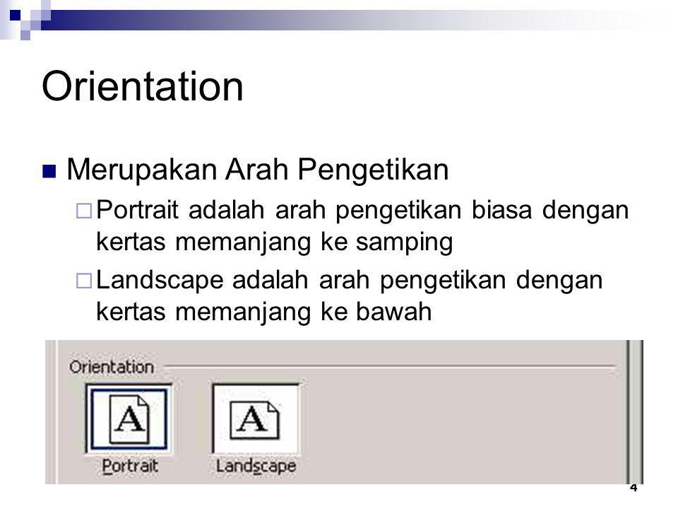 Orientation Merupakan Arah Pengetikan