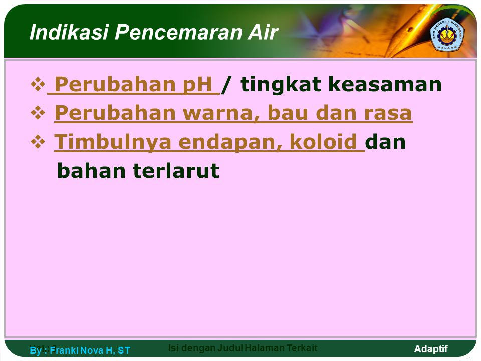 Indikasi Pencemaran Air
