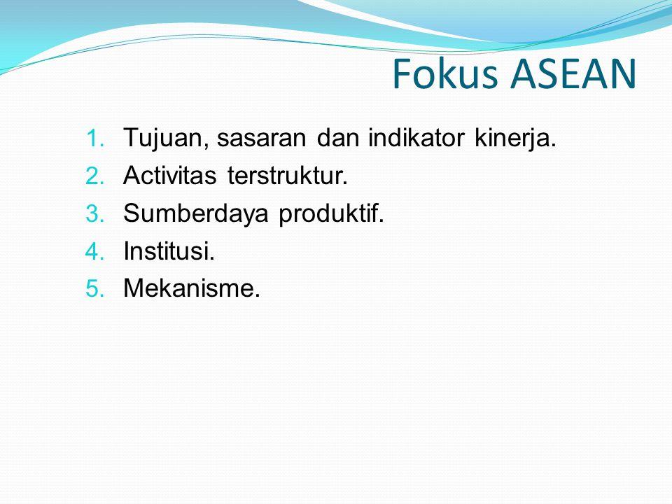 Fokus ASEAN Tujuan, sasaran dan indikator kinerja.