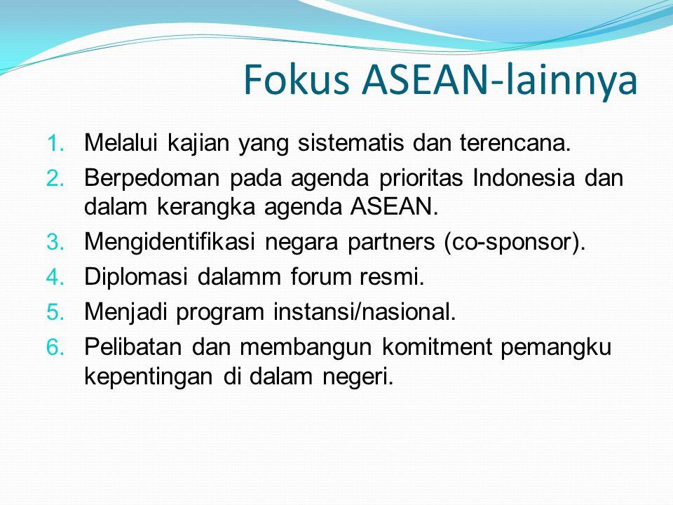 Fokus ASEAN-lainnya Melalui kajian yang sistematis dan terencana.
