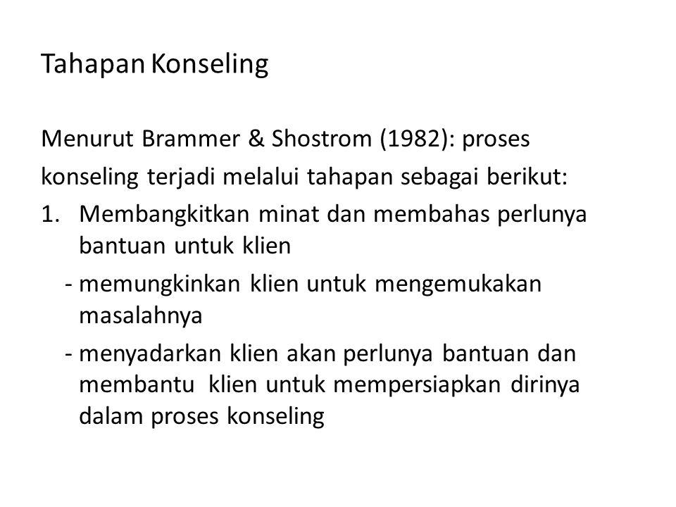 Tahapan Konseling Menurut Brammer & Shostrom (1982): proses