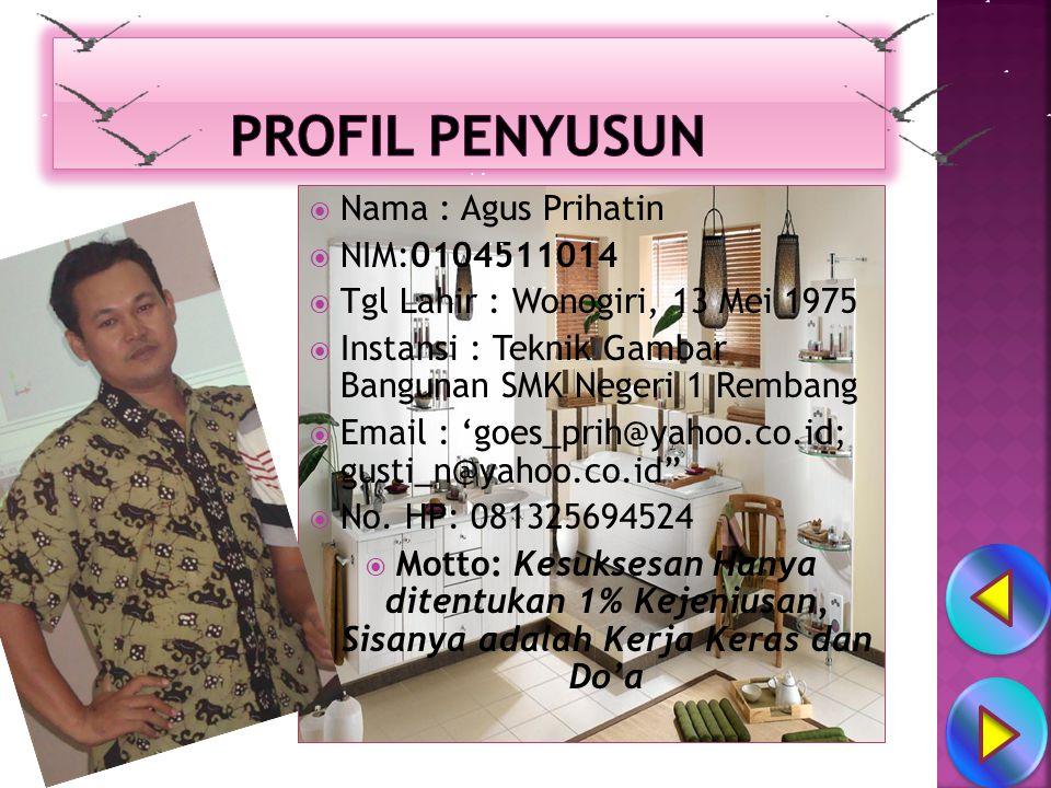 PROFIL PENYUSUN Nama : Agus Prihatin NIM:0104511014