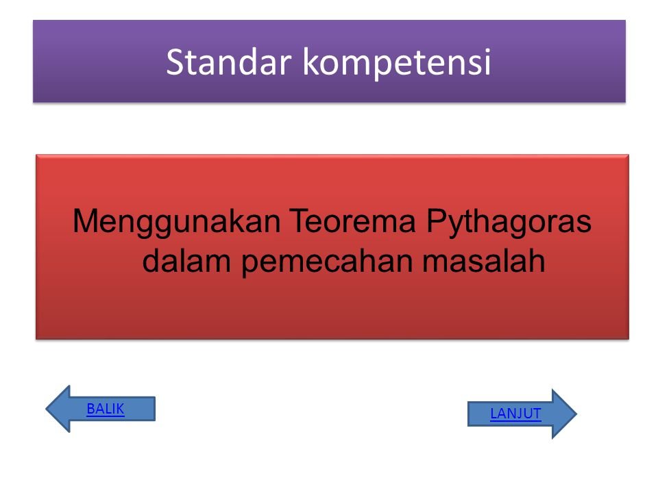 Menggunakan Teorema Pythagoras dalam pemecahan masalah