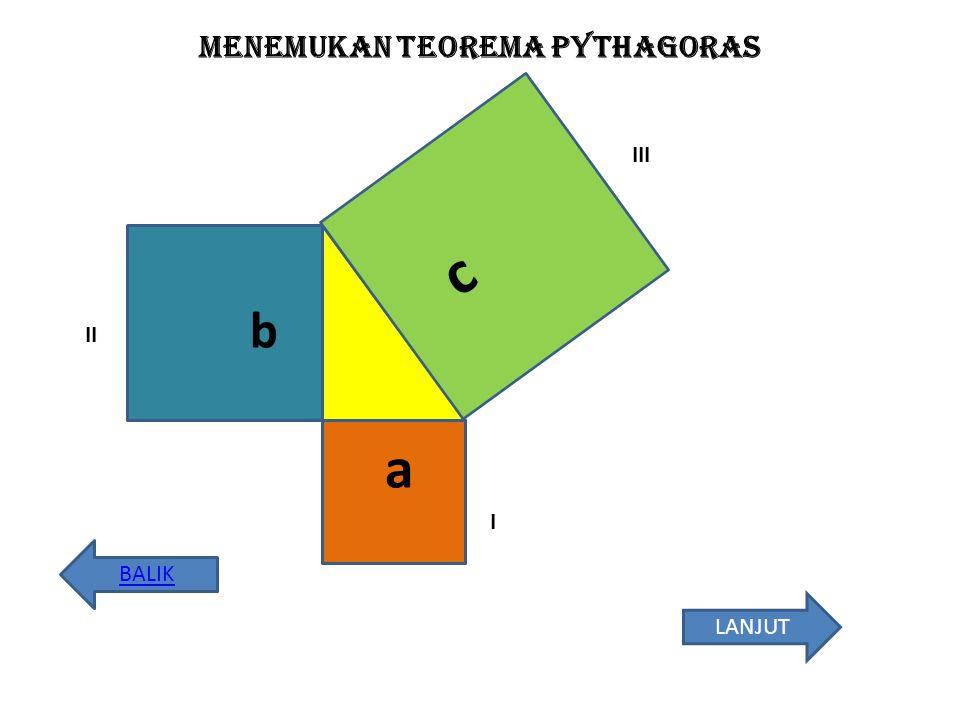Menemukan teorema pythagoras