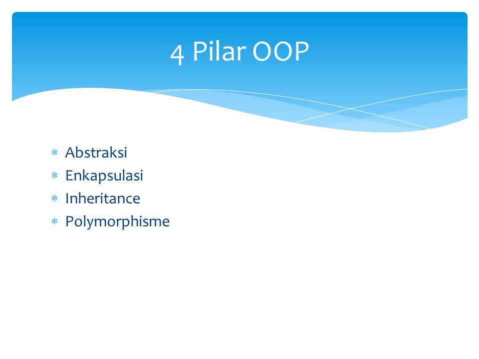 4 Pilar OOP Abstraksi Enkapsulasi Inheritance Polymorphisme
