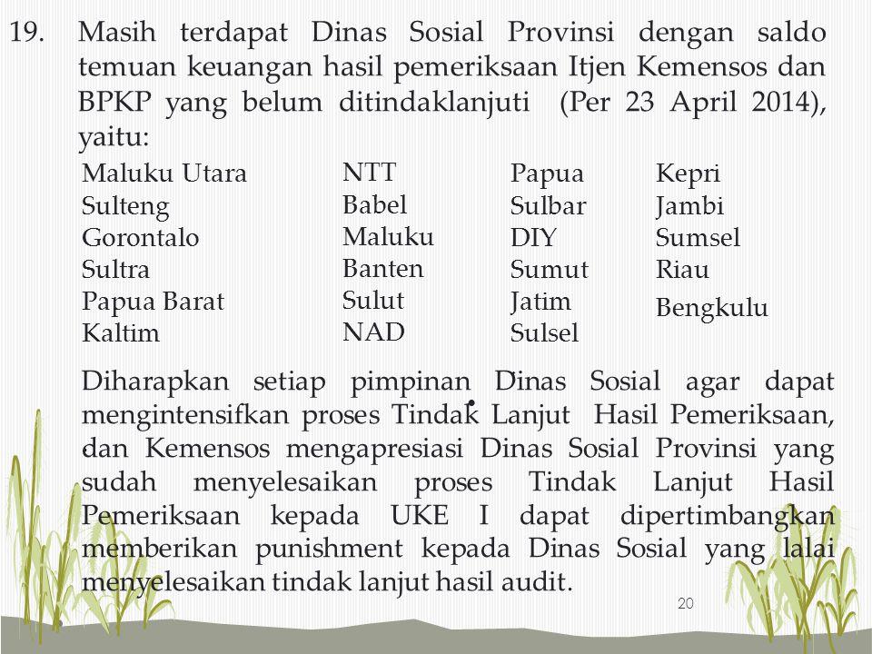 19. Masih terdapat Dinas Sosial Provinsi dengan saldo temuan keuangan hasil pemeriksaan Itjen Kemensos dan BPKP yang belum ditindaklanjuti (Per 23 April 2014), yaitu: