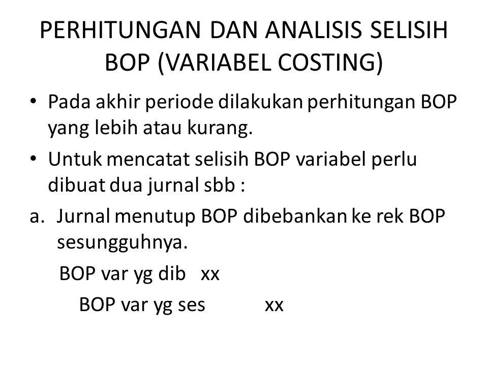 PERHITUNGAN DAN ANALISIS SELISIH BOP (VARIABEL COSTING)