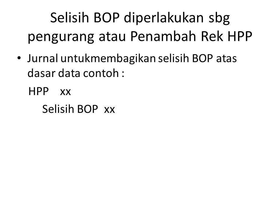 Selisih BOP diperlakukan sbg pengurang atau Penambah Rek HPP
