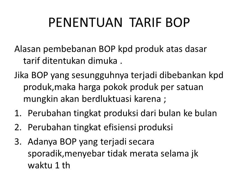 PENENTUAN TARIF BOP Alasan pembebanan BOP kpd produk atas dasar tarif ditentukan dimuka .