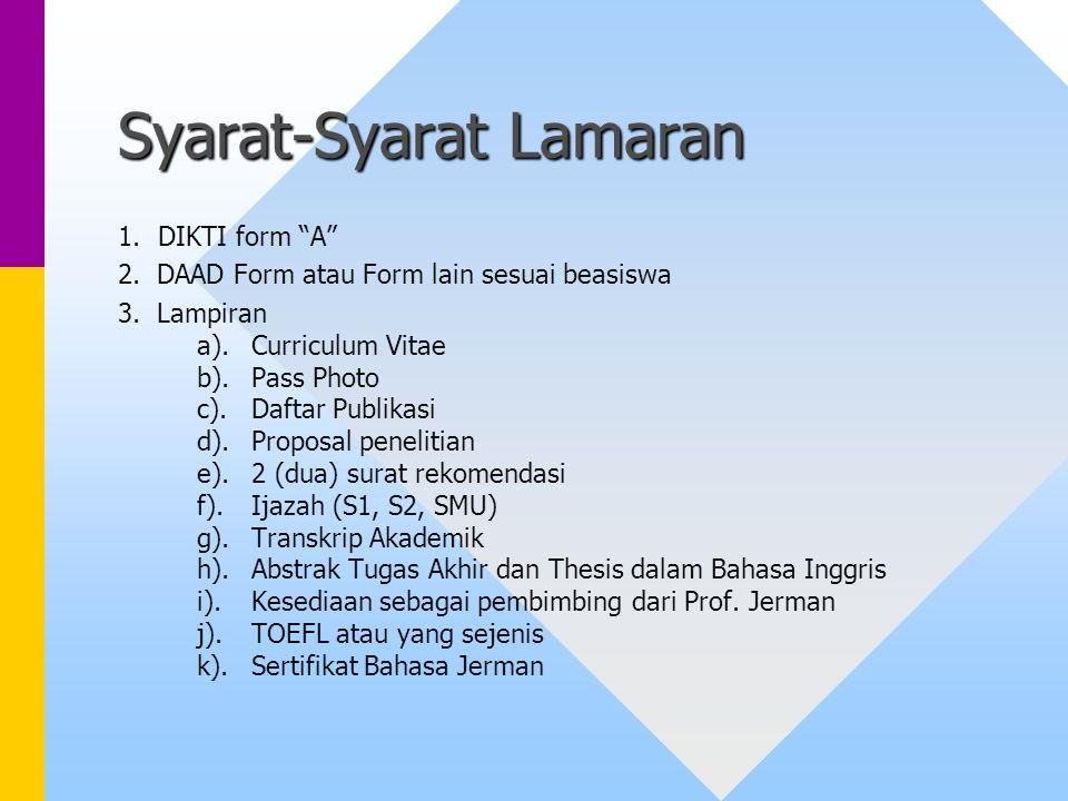 Syarat-Syarat Lamaran