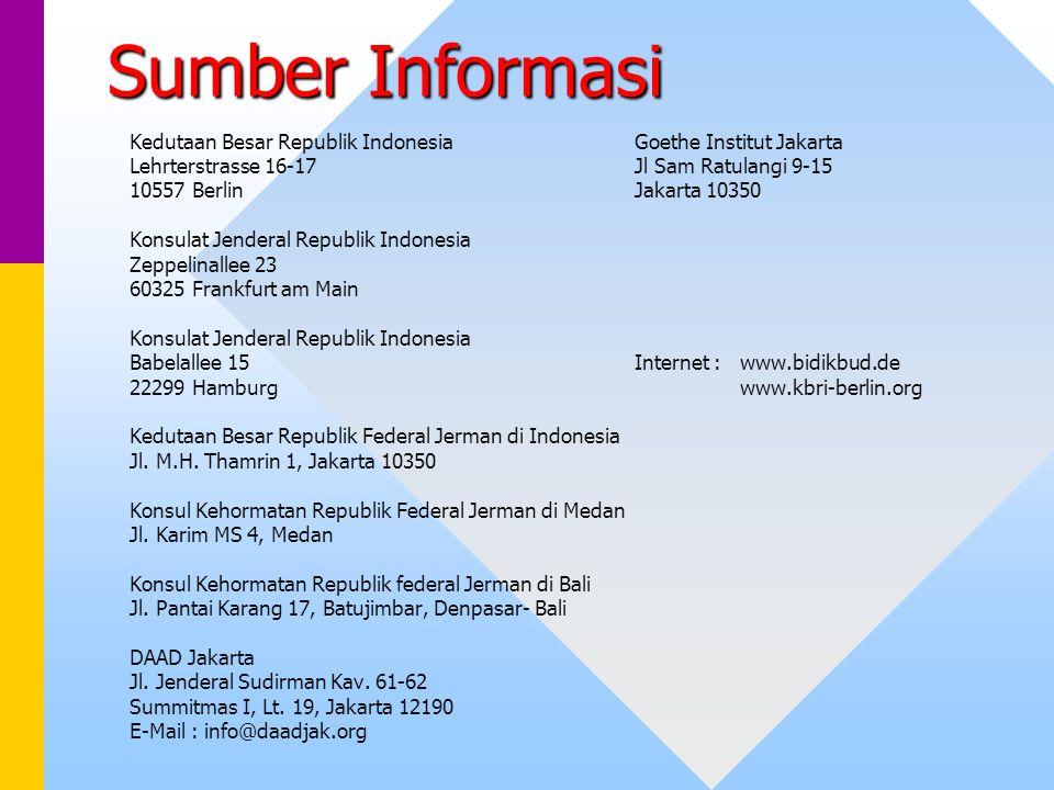 Sumber Informasi Kedutaan Besar Republik Indonesia Goethe Institut Jakarta. Lehrterstrasse 16-17 Jl Sam Ratulangi 9-15.