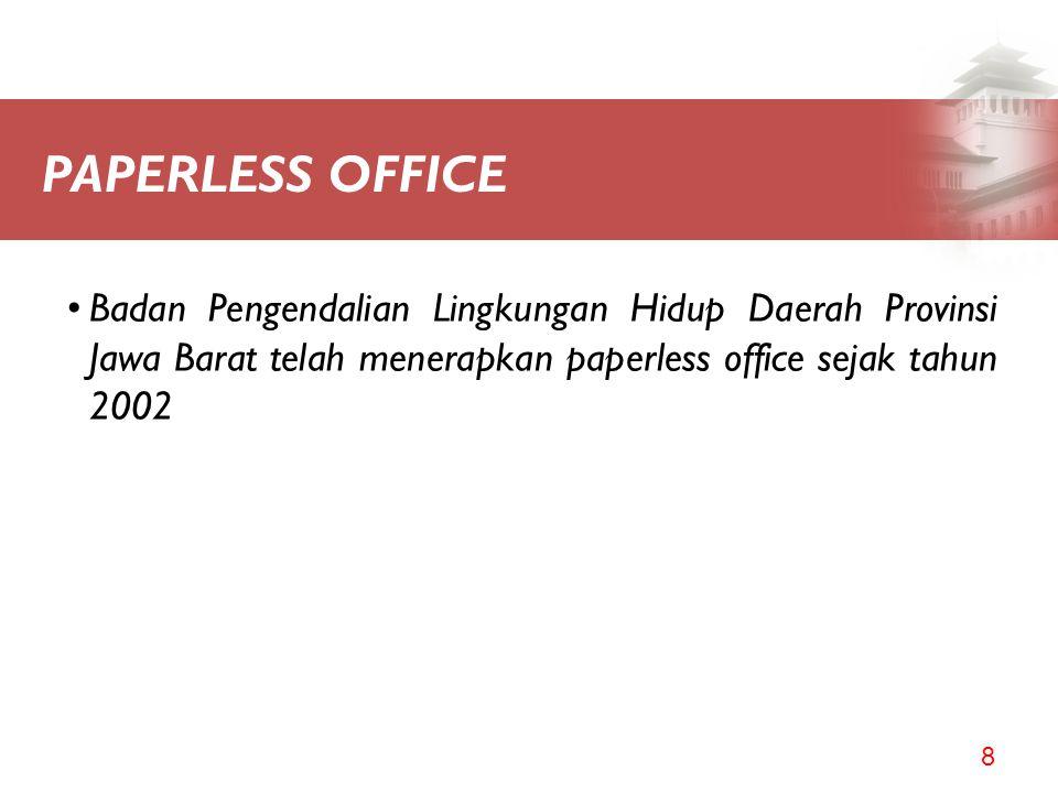 PAPERLESS OFFICE Badan Pengendalian Lingkungan Hidup Daerah Provinsi Jawa Barat telah menerapkan paperless office sejak tahun 2002.