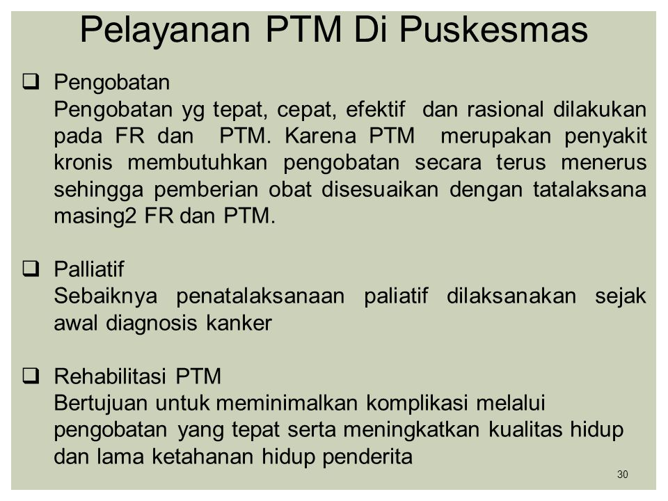 Pelayanan PTM Di Puskesmas