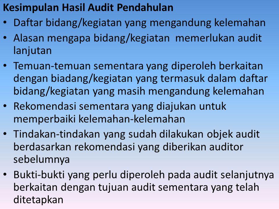 Kesimpulan Hasil Audit Pendahulan