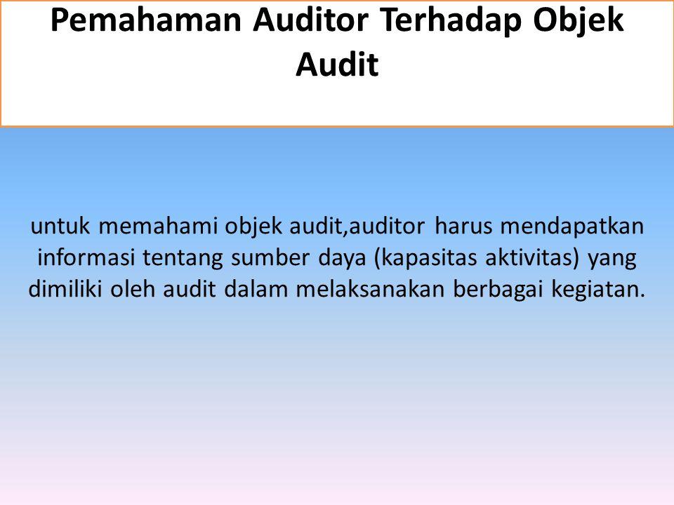 Pemahaman Auditor Terhadap Objek Audit