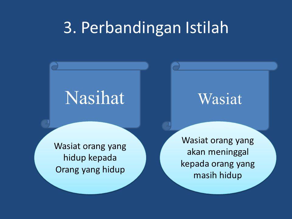 Nasihat 3. Perbandingan Istilah Wasiat
