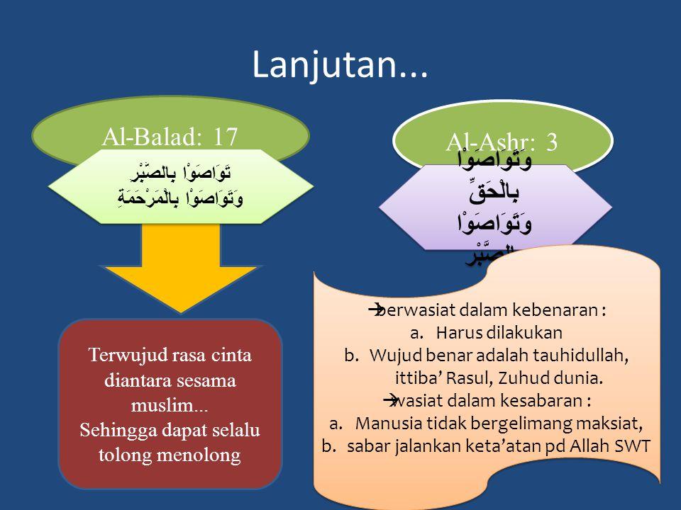 Lanjutan... Al-Balad: 17 Al-Ashr: 3