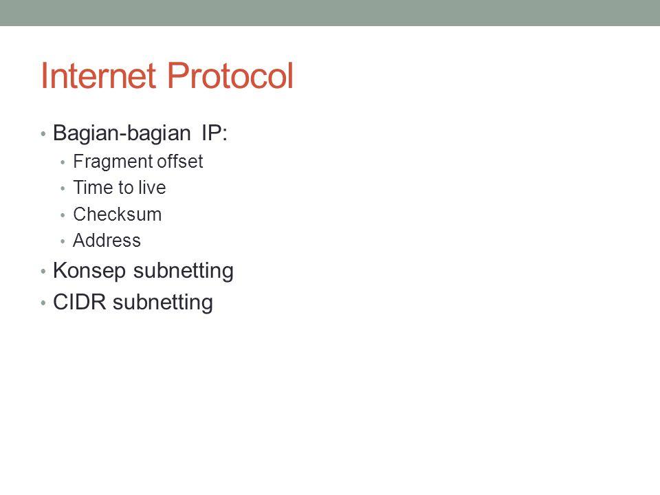 Internet Protocol Bagian-bagian IP: Konsep subnetting CIDR subnetting