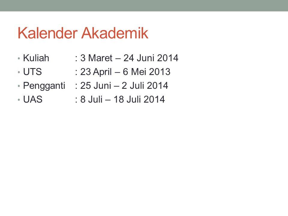 Kalender Akademik Kuliah : 3 Maret – 24 Juni 2014