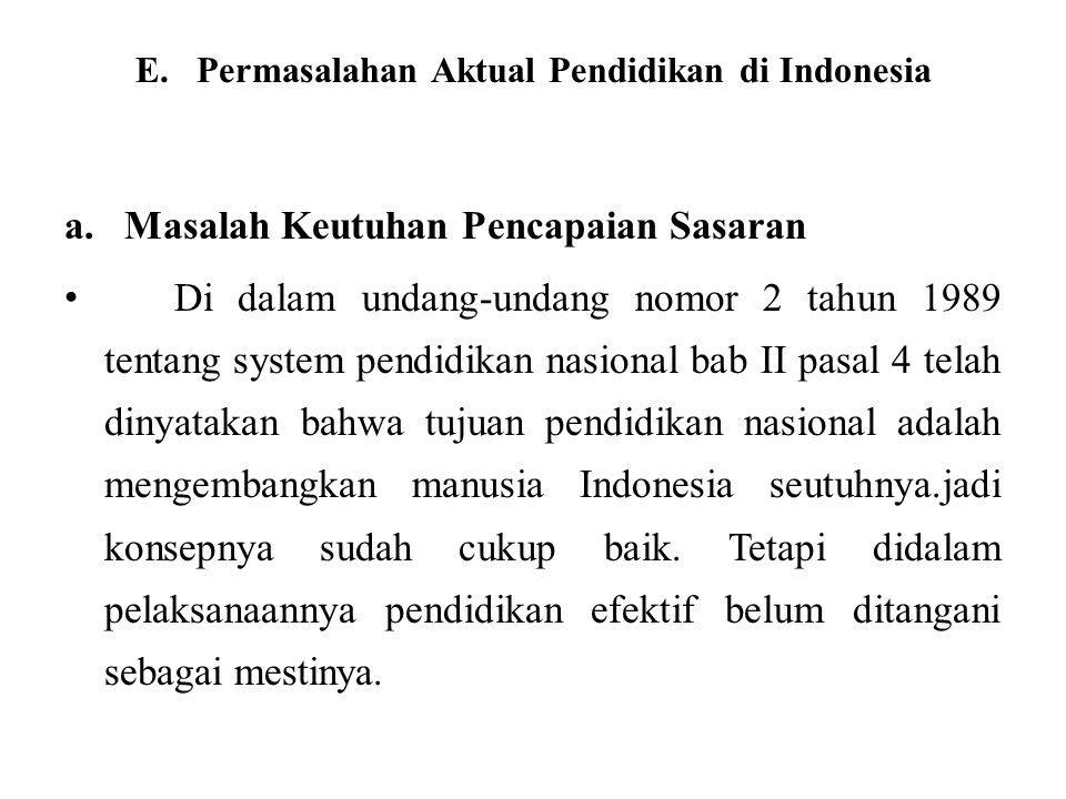 E. Permasalahan Aktual Pendidikan di Indonesia
